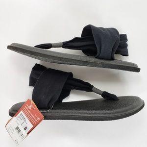 New Sanuk Yoga Sling Black Sandles flip flop mat 8